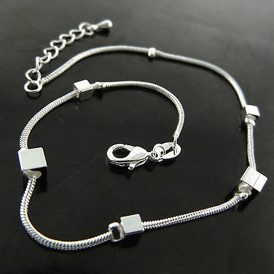 Fsa766 Genuine Real 925 Sterling Silver Sf Ladies Classic Xl Bracelet Anklet