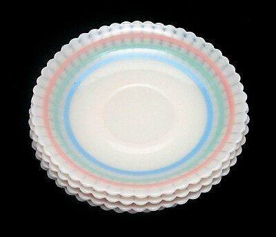 SET OF 4 - MACBETH EVANS Petalware Cremax PASTEL BANDS Saucers