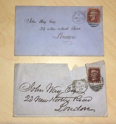 1867 & 1869 1d Covers to London