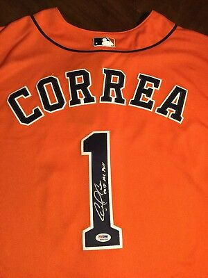 Carlos Correa Autographed Houston Astros Jersey PSA/DNA Inscribed 2015 AL ROY