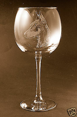 Etched Doberman Pinscher on Large Elegant Wine Glasses