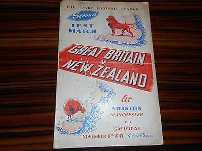 RUGBY LEAGUE PROGRAMME : GREAT BRITAIN  v  NEW ZEALAND 1947 @ SWINTON,MANCHESTER
