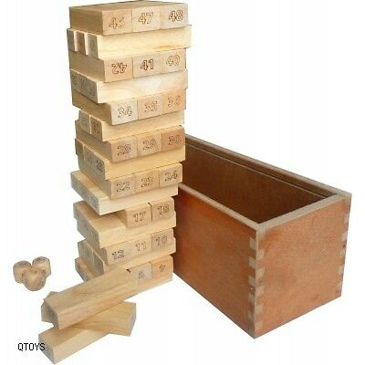 Number Jenga -Tumble a tower Game - 100% Brand new - Safe Materials