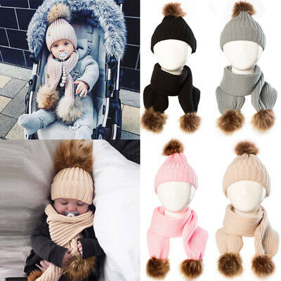 2PCS Newborn Baby Boy Girls Winter Warm Pom Bobble Knit Beanie Hat + Scarf Set