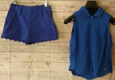 BULK Women Clothing 10 12 GUESS Blue Top sleeveless FOREVER NEW Shorts Outfit