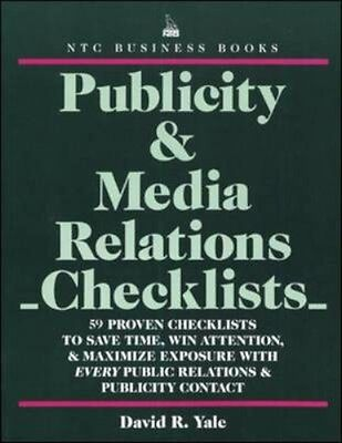 NEW Publicity & Media Relations Checklists by David R Yale BOOK (Paperback)