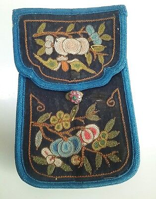 Rare antique chinese silk purse forbidden stitch embroidery