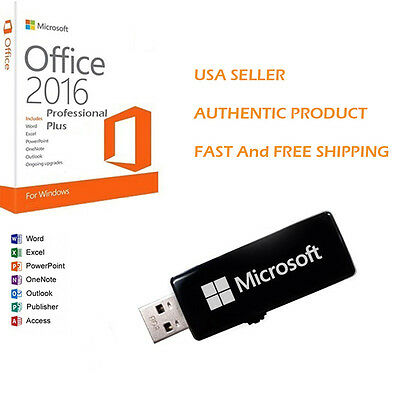 Microsoft Office 2016 Professional Plus 32/64 Bit Full Retail USB Flash 2 PC Ver