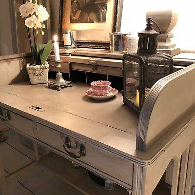 Rare Vintage Grey Hand Painted Country Farmhouse Roll Top Writing Desk 5 Drawers