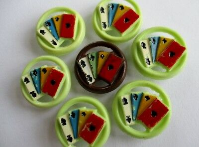 VINTAGE ITALIAN BUTTONS NOVELTY REALISTICS PIERCED PLASTIC PLAYING CARDS 7 pcs.