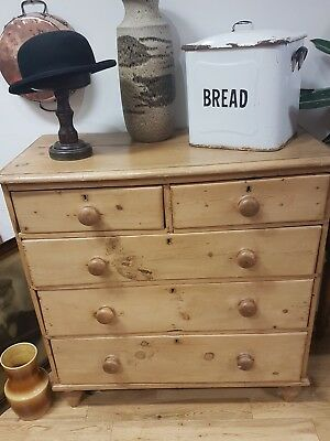 Victorian Pine Chest of Drawers. Antique Solid & Sturdy Original