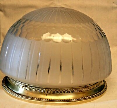 large 1900´s Antique Modernist Carved Glass Belle Epoque flush mount lamp light