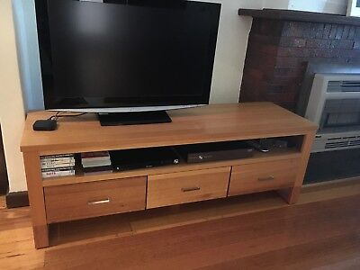 TV stand/storage cabinet/sideboard with three drawers, light timber wood