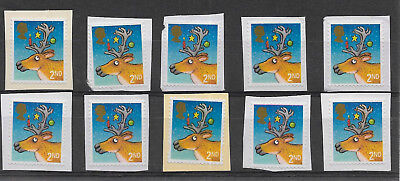 10 GB Unfranked 2nd class security Christmas stamps on paper. Ref 2017/037.