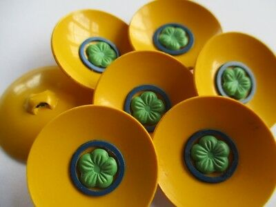 VINTAGE CELLULOID BUTTONS BRIGHT YELLOW WITH GREEN FLOWERS 6 pcs.