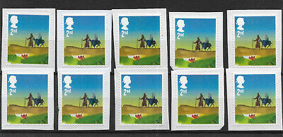 10 GB Unfranked 2nd class 2015 security Christmas stamps on paper Ref 2017/10.