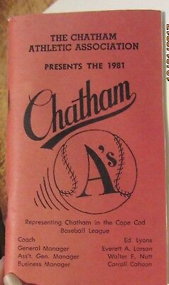 Vintage 1981 CHATHAM 'A's from the Cape Cod Baseball League booklet w/roster