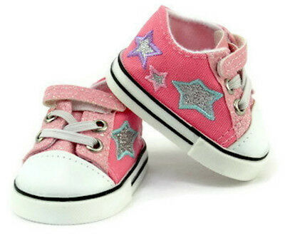 "Pink Glitter and Stars Tennis Shoes Sneakers for 18"" American Girl Doll Clothes"