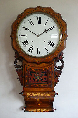 Antique Victorian Drop Dial Wall Clock 8 Day Chiming by EN Welch America c1880