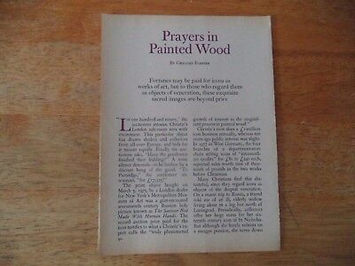 Prayers In Painted Wood  Vintage Magazine Article       7      9     A       P