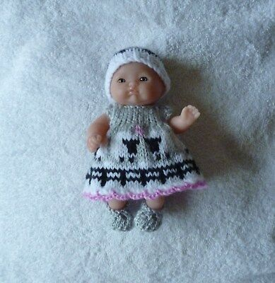 """Hand knitted doll clothes to fit 5"""" Berenguer"""