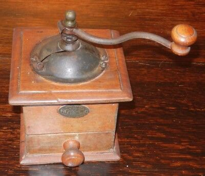 Antique French Japy Freres, Beaucourt, Paris. Wood & Metal Coffee Mill/Grinder