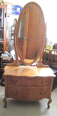Bird's-Eye Maple Low/chest/2 Drawers -With Cheval/swing Mirror -1920's New Price