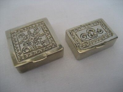 Two Vintage Solid Silver Pill Boxes