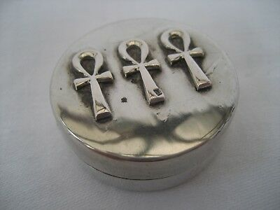 Vintage Egyptian Solid Silver Pill Box.