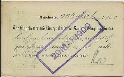 Postcard from Manchester and Liverpool District Bank to Lloyds Bank 1900