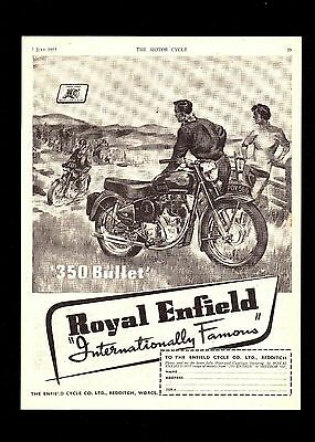 July 1955 Royal Enfield 350 Bullet Motorcycle. Magazine Advert.