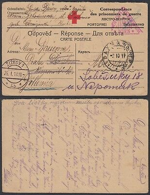 Austria WWI 1917 - POW postcard to Russia - Red Cross Censor