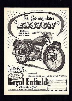 1954 ROYAL ENFIELD 150 ENSIGN MOTORCYCLE 148cc SPRING FRAME. MAGAZINE ADVERT.