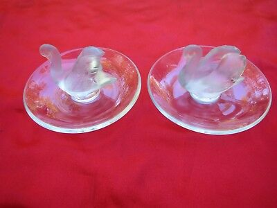Vintage (2) Lalique Swan Pin / Jewerly Holders