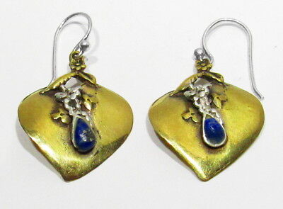 Big Vintage 925 Silver Natural Lapis Gemstone Gold Plate Flower Leafs Earrings