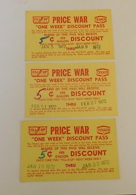 Three 1972 Texaco gas discount coupons Fill R Up Price War