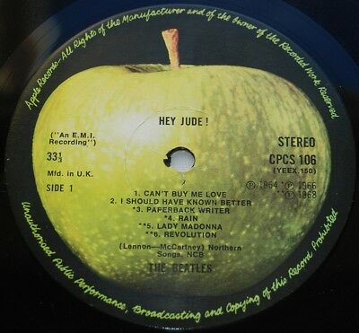 BEATLES 1970 CPCS 106 UK Export Light Apple LP - Hey Jude