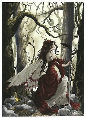 "Nene Thomas Always Fairy Print Postcard NEW 4x6"" Red Dress Black Raven Crown"