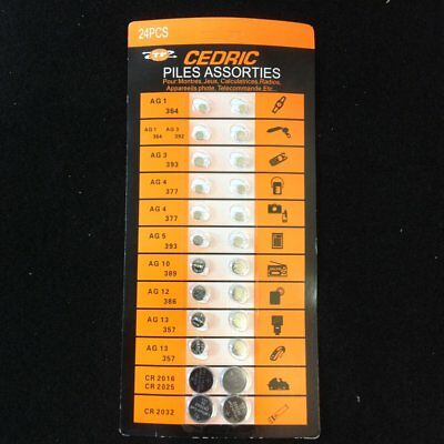 24 PC Assorted Watch Batteries,Radio,Camera,Calculator,Cr2025, CR2016, AG3