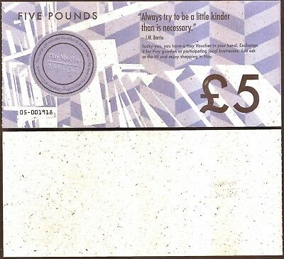 Wales  : £5 Local/Transitional Currency Banknote from Hay Powys. rarely seen,UNC