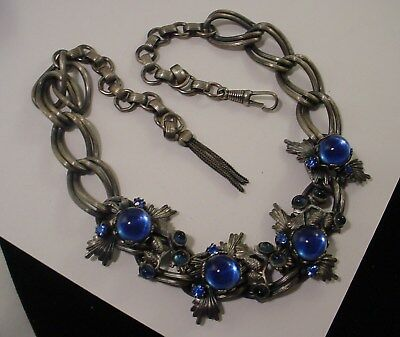 Signed Germany Blue Orb Glass RS Thistle Tassel Clasp Choker Necklace Art Deco