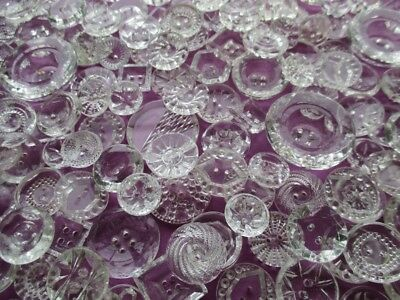 EXTRA LARGE JOB LOT SPARKLING VINTAGE CLEAR GLASS CRYSTAL BUTTONS 135 pcs.