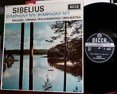 DECCA LP SXL 6236: SIBELIUS Symphony Nos. 5 & 7 - MAAZEL VPO - 1966 UK EARLY OOP