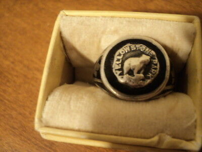 Very Old ART DECO Yellowstone National Park Sterling Silver RING Size 7.5