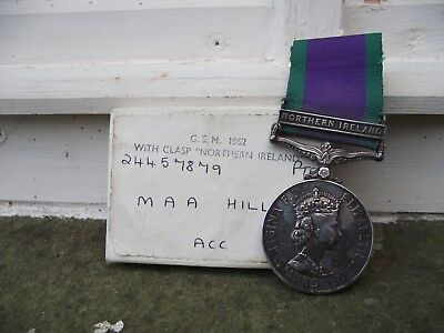 vintage gsm 1962 medal with northern ireland bar to 24457879 pte m.hill acc