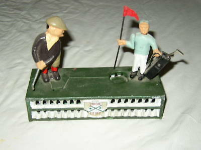 BIRDIE PUTT MECHANICAL COIN BANK CAST IRON GOLFER CADDY GOLF nice heavy