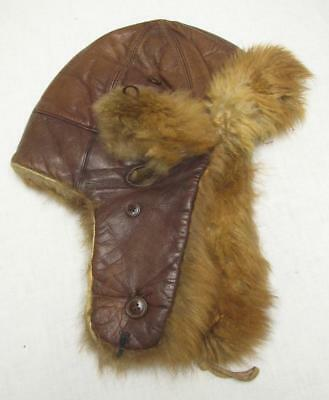 WW2 WWII Japanese AIR FORCE Fighter Pilots Leather & FUR Combat Cap Helmet