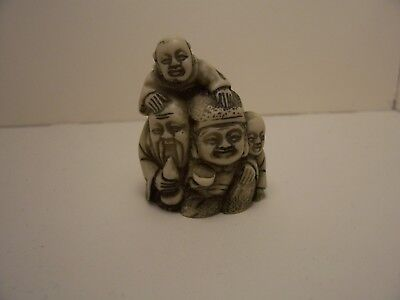 Resin Netsuke Men With Children