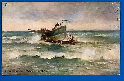 Old Postcard Launching The Lifeboat Southsea Portsea  Hampshire Nr Portsmouth
