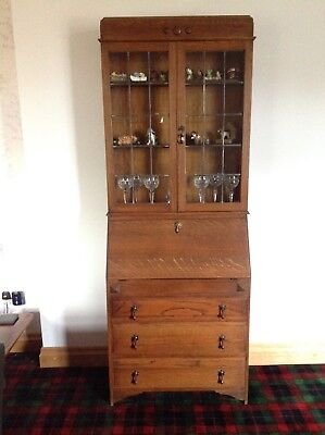 Vintage Bureau Bookcase Leaded Glass Display Cabinet